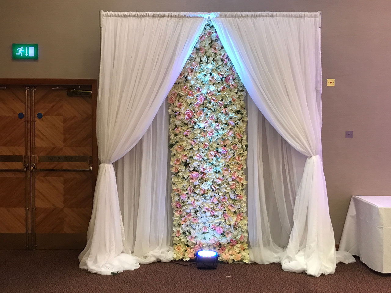 Flower wall backdrop - royal garden hotel