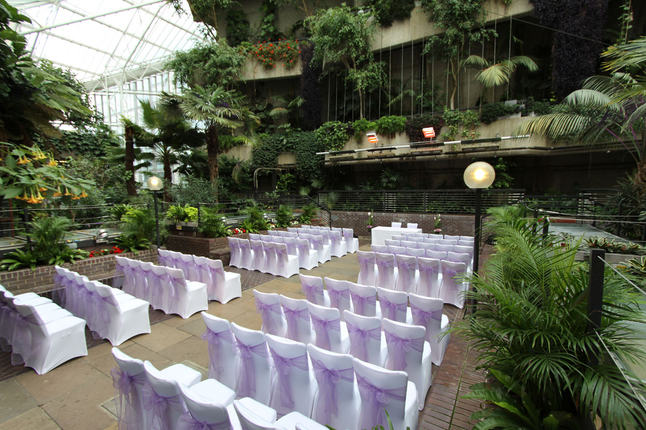 Purple chair covers - Barbican